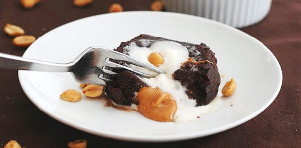 Molten Chocolate Peanut Butter Cake